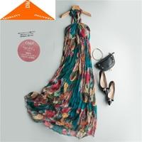 Silk 100% Real Summer Dress Women Clothes 2020 Vintage Dresses for Woman Sexy Boho Floral Maxi Beach Party Vestidos Robe