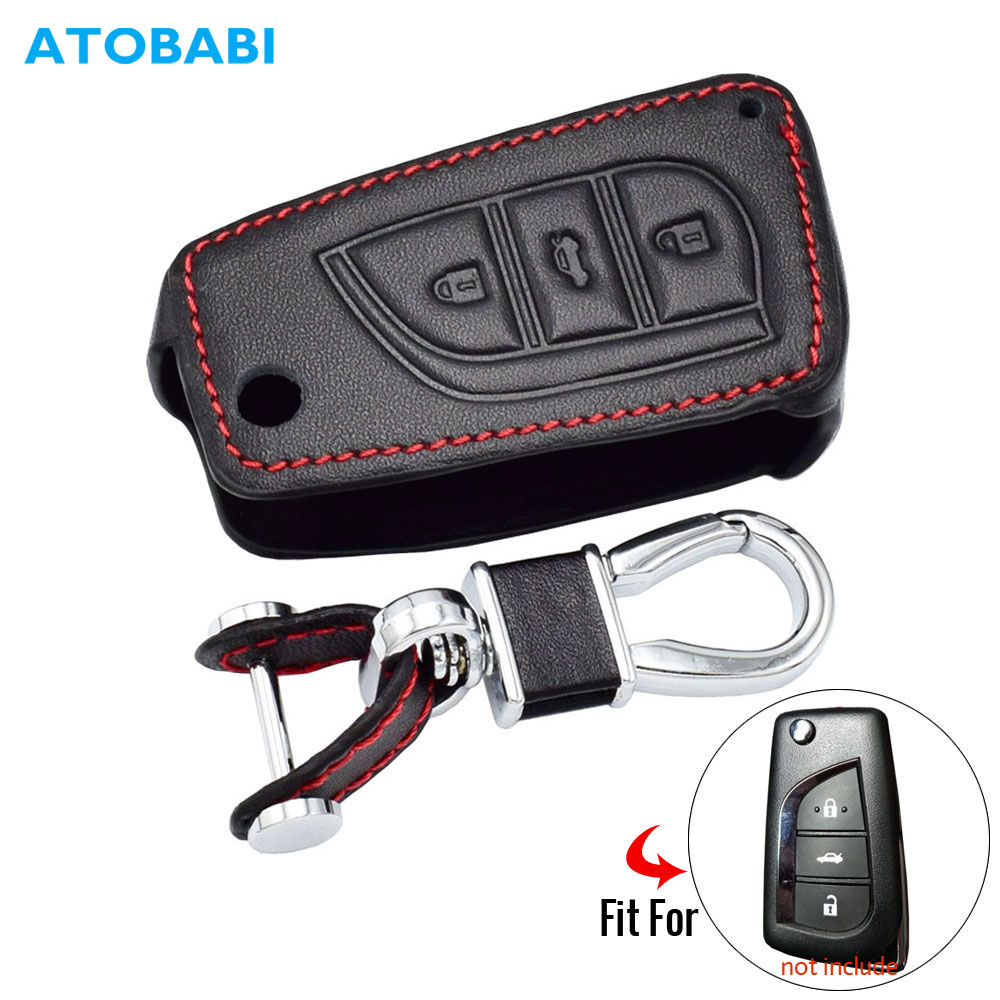 3 Buttons Leather Car Key Cover For New Toyota Camry Highlander Corolla Prado Reiz Crown RAV4 Flip Remote Fob Case Keychain Bag