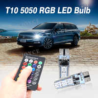 SKYJOYCE RGB T10 W5W LED Bulb 12SMD COB 194 168 Car With Remote Controller 12V Flash Strobe Reading Wedge Light Clearance lights