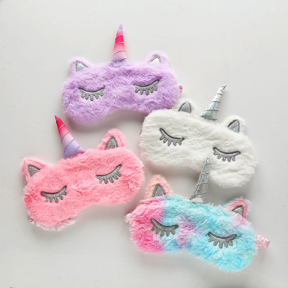 Sleep Eye Mask Kids Unicorn Plush Eye Cover Sleeping Mask Cartoon 3D Silk Travel Eye Band Shade Rest Eyepatch Eye Blindfolds