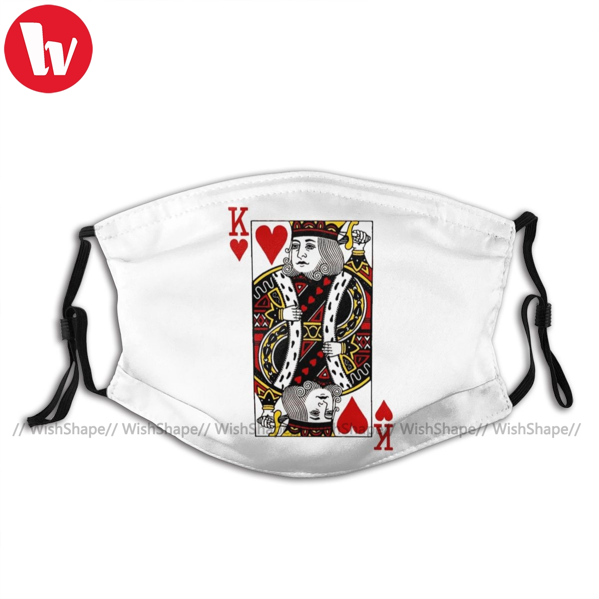 Poker Mouth Face Mask KING OF HEARTS Facial Mask with 2 Filters Pretty Kawai Adult Mask