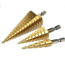 цена на 3pc Hss Step Cone Taper Drill Bit Set Metal Plastic Hole Cutter Metric 4-12/20/32mm 1/4 Titanium Coated Metal Hex Taper