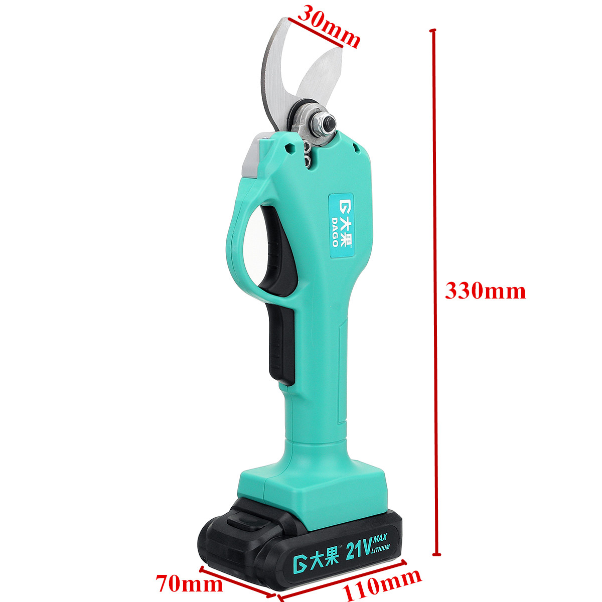 21V Wireless and Rechargeable Electric Garden Scissors for Pruning Branches with 30mm Maximum Cutting and 2 Li-ion Battery 12