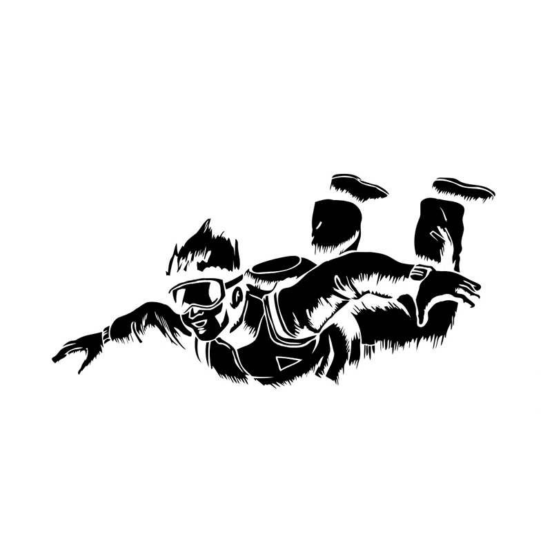 Aliauto индивидуальная наклейка для автомобиля парашютный декор силуэт водонепроницаемый Светоотражающая креативная Наклейка ПВХ графическая, 18 см* 8 см - Название цвета: Черный