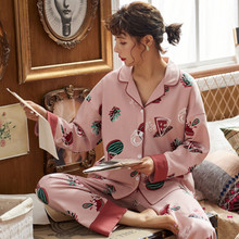 Pajama women's spring and autumn cotton long sleeve lovely home clothes Korean sweet large cotton summer women's two piece set
