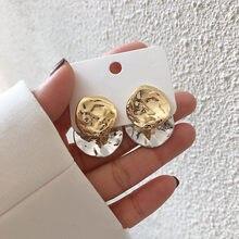 AOMU 2021 moda geométrico Irregular disco pliegues oro de Metal de Color plata, pendientes para las mujeres regalo de joyas de fiesta