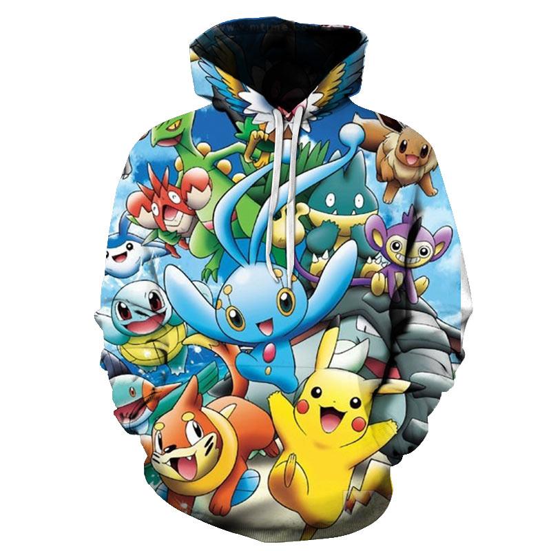 2019 3D Pokemon Man Hoodes Kid Harajuku Anime Cartoon Parenthood Hoodies Kawaii Clothes Sweatshirt Fashion Streetwear Tops