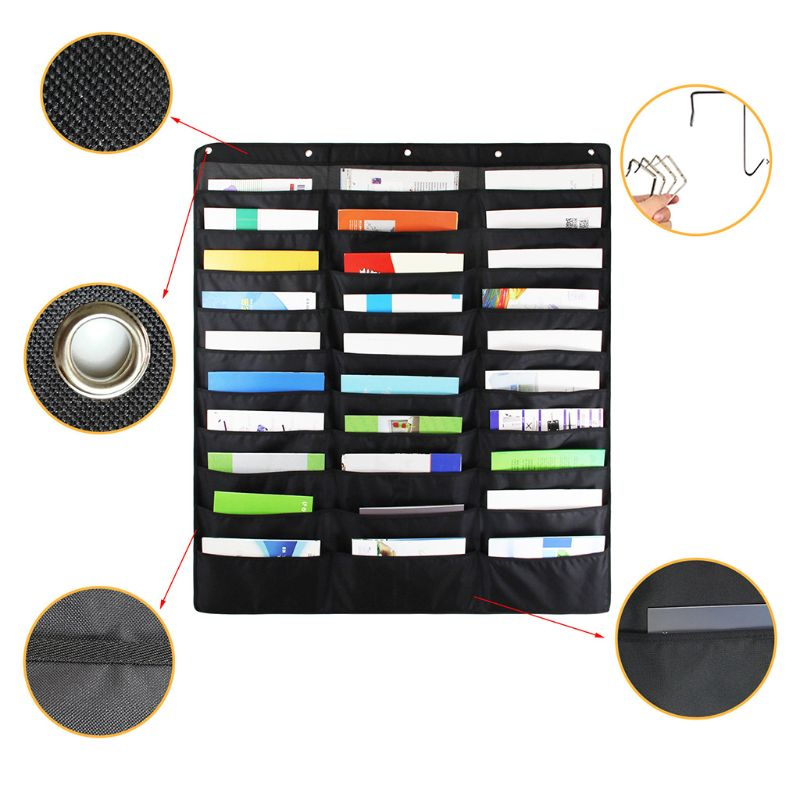 30 Pocket Storage Pocket Chart Hanging Wall File Organize Your Assignments Files