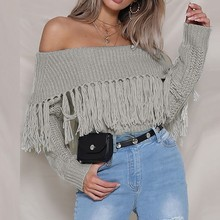 Women sweater Sexy Solid Off Shoulder Slash neck Tassel Long Sleeve Fashion Sweaters Blouse Trendy Knitted Tops New desgin
