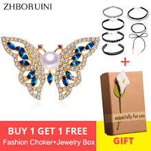 ZHBORUINI 2019 New Natural Freshwater Pearl Brooch Butterfly Gold Color Jewelry For Women Gift Accessories