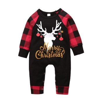 Christmas Jumpsuit Infant Outfit Boys Lattice Print One-piece Newborn Baby Boy Girl Clothes Romper baby short sleeve one piece dress baby romper newborn infant cotton romper boy girl animal printed jumpsuit kids clothes outfit