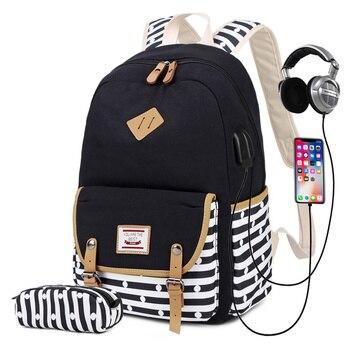 Women Canvas Backpacks Ladies Shoulder School Bag Backpack USB Rucksack for Girls Travel Fashion Bag Bolsas Mochilas 2 pcs/set women backpacks women s nylon girl school bag high quality ladies bags designer bolsas masculina harajuhku mochilas kanken usb