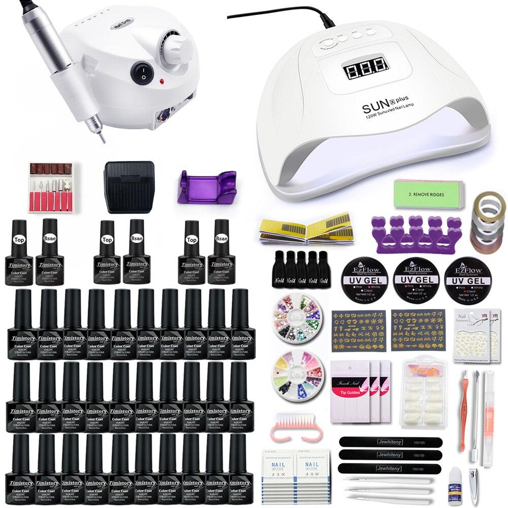 Nail Set With 30/20/10 Colors Nail Gel Polish Set 35000RPM Nail Drill Machine Set Nail Kit With 120W Nail Dryer Nail Art Tools