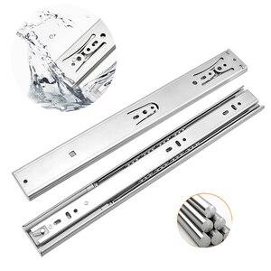 10-22 Inch Stainless Steel Drawer Slides Soft Close Drawer Track Rail Sliding Buffer Cabinet Slides Furniture Hardware