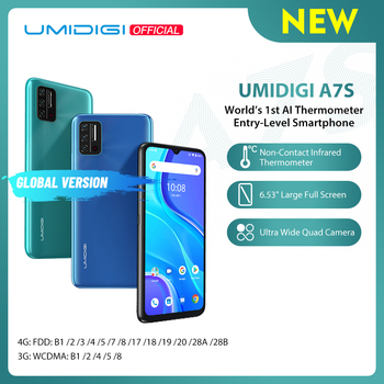 UMIDIGI A7S 6.53'' 20:9 Large Full Screen 32GB 4150mAh Triple Camera Cellphone Infrared Temperature Sensor Type C Smartphone
