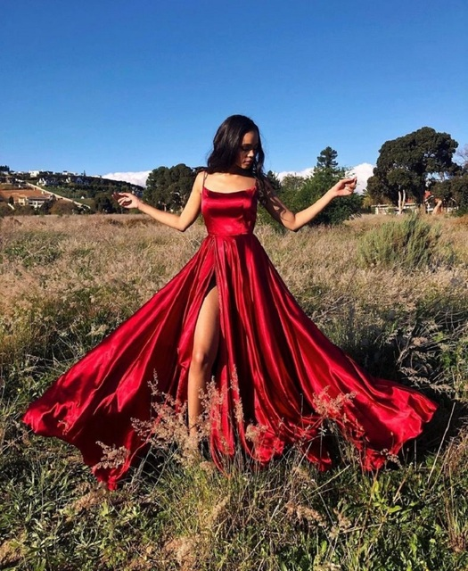 Women's Halter Satin Long Prom Dresses with Pockets Criss Cross Open Back Side Slit Dinner Party Dresses Free Shipping 2
