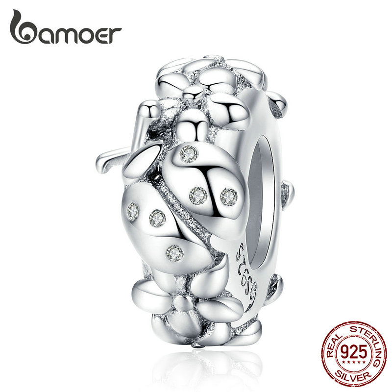 Bamoer Silver 925 Jewelry Stoppers Charm Fit European Luxury Bracelet For Women Ladybuy Charms With Silicone Beads BSC112
