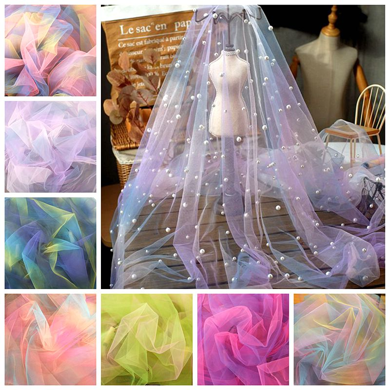 160cm Wide Rainbow Gradient Tulle Fabric Sewing Baby Shower Tutu Skirt Princess Dress Wedding Party Decor African Mesh Fabric