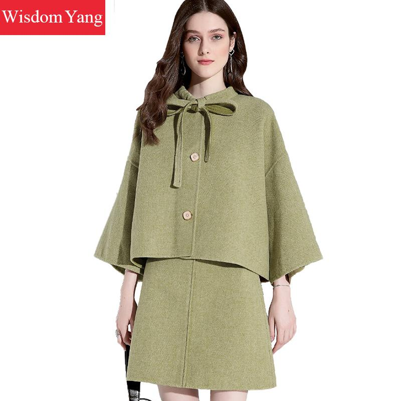 2 Piece Set Winter Women Sheep Wool Cloak Suit Tops Cashmere Fur Coats Green Woolen Overcoat Mini Wrap Skirts Korean Lady Suits