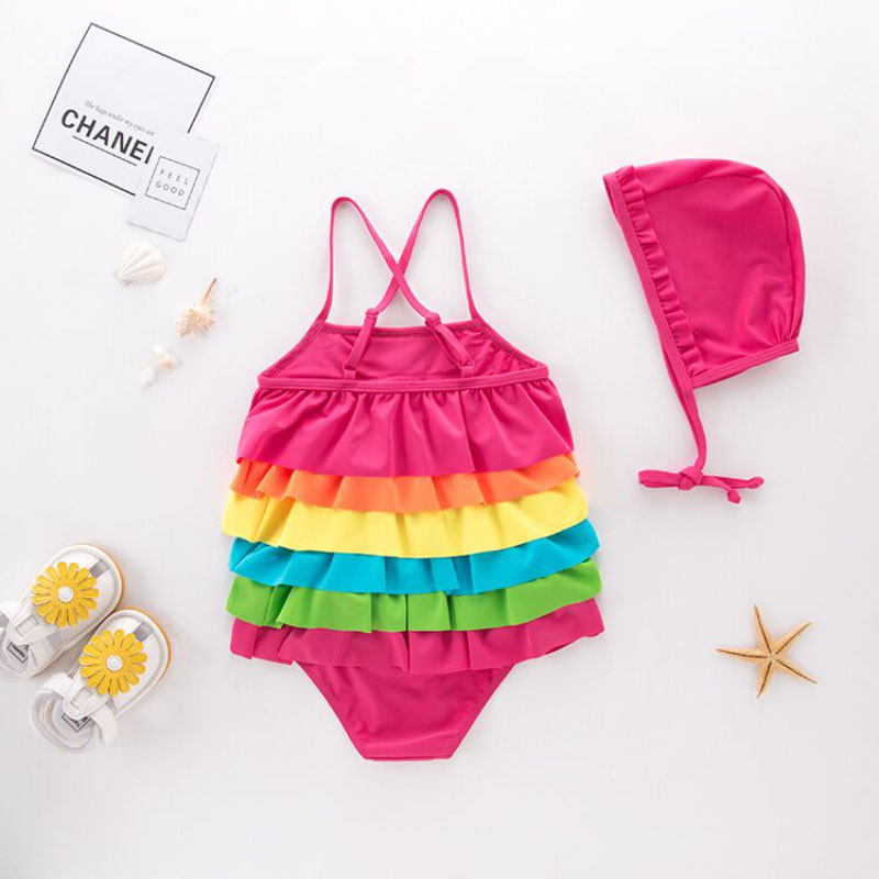 Leopard Cute Baby Girl Swimwear Swimsuit Rainbow Tiers Halter Hat 2pcs Set Kids Children Bathing Ruffles Rainbow Swimwear