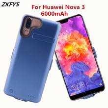 ZKFYS Power Cases 6000mAh Smart Phone Stand Charger Battery Case For Huawei Nova 3 External Power Bank Case Charging Back Cover