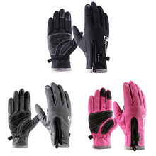Outdoor Climbing Gloves Wear-resistant Anti-slip PU Palm Windstopper Waterproof Thicker Touch Screen MTB Glove Hiking Gloves