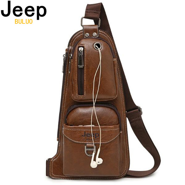JEEP BULUO BRAND New Men Messenger Bags Hot Crossbody Bag Famous Mans Leather Sling Chest Bag Fashion Casual 6196