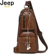 JEEP BULUO yepyeni erkek postacı çantası sıcak Crossbody çantası ünlü erkek deri Sling göğüs çantası moda rahat 6196