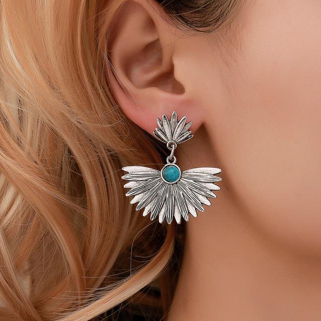 Hello Miss Fashion earrings ethnic style leaf fan-shaped Stud earrings retro alloy pendant earrings women's earrings jewelry