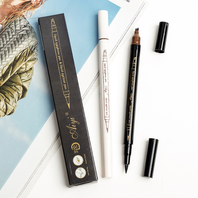Eyebrow Liquid Pencil Microblading Double Head 4 Tips Eyes Make Up Tint Henna Easy to Wear Brow Enhancer 2 in 1 Eye Liner Pen 1