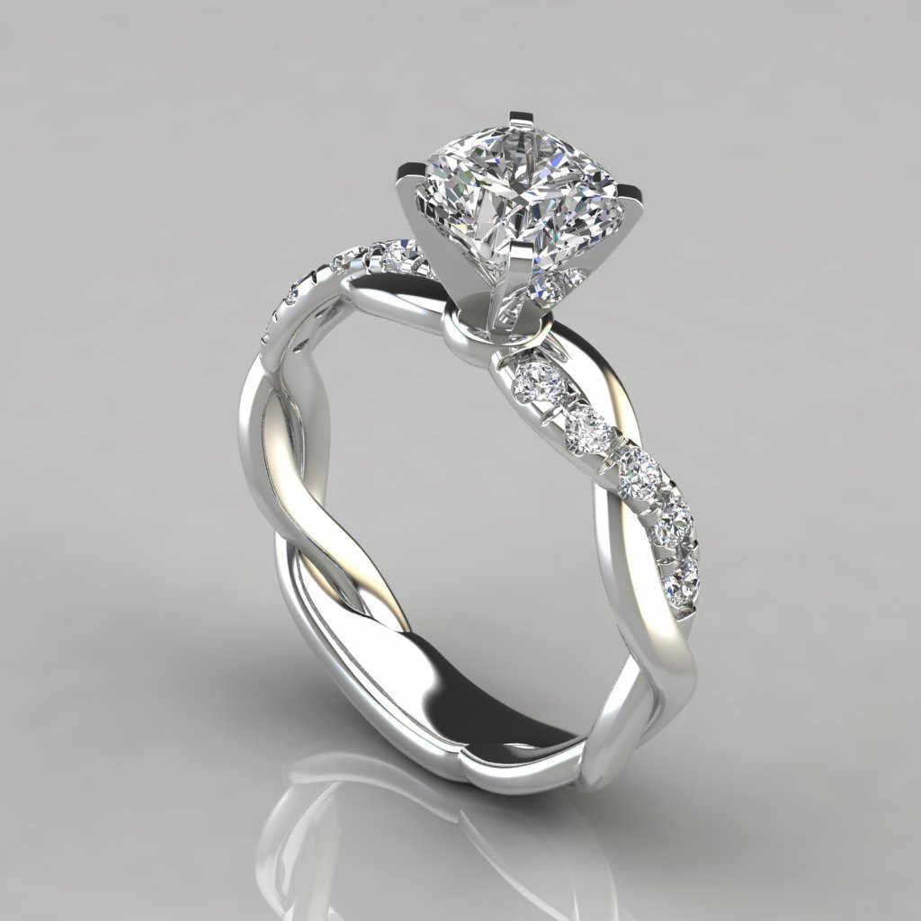10K Mawar Emas Putih 1 Karat FL Diamond Ring untuk Wanita Warna Perak 925 Perhiasan Bizuteria Batu Permata 10K perhiasan Emas Berlian