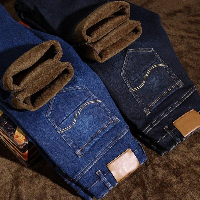 2019 Mens Winter Thicken Fleece Jeans Stretch Denim Warm Jeans For Men Designer Brand Long Pants Jean Black/Blue 28-40