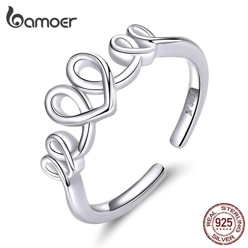Bamoer Heart Love Open Finger Rings For Women Genuine 925 Sterling Silver Adjustable Finger Rings Fine Wedding Jewelry SCR588