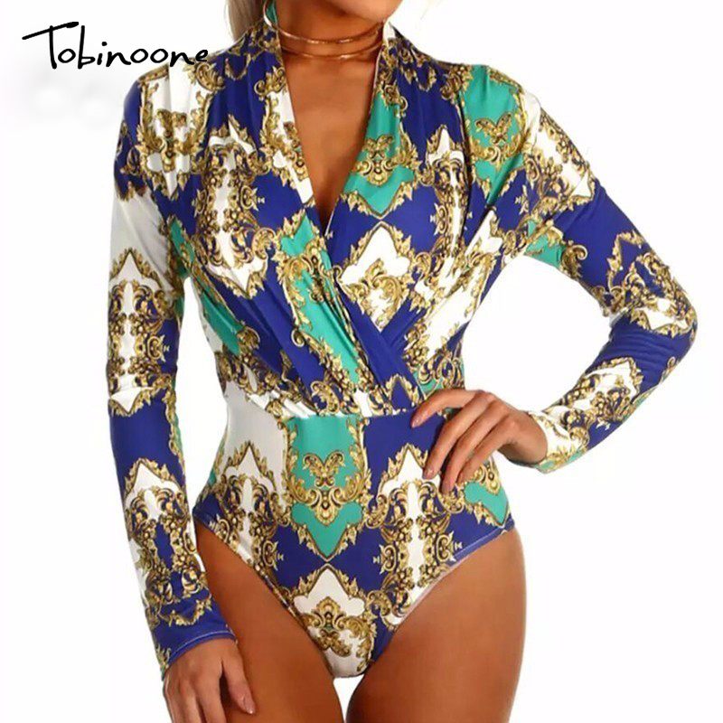 Tobinoone 2018 Sexy V Neck Long Sleeve Bodysuit Fashion Floral Patchwork Print Women Jumpsuit Club Beach Party Romper Playsuits