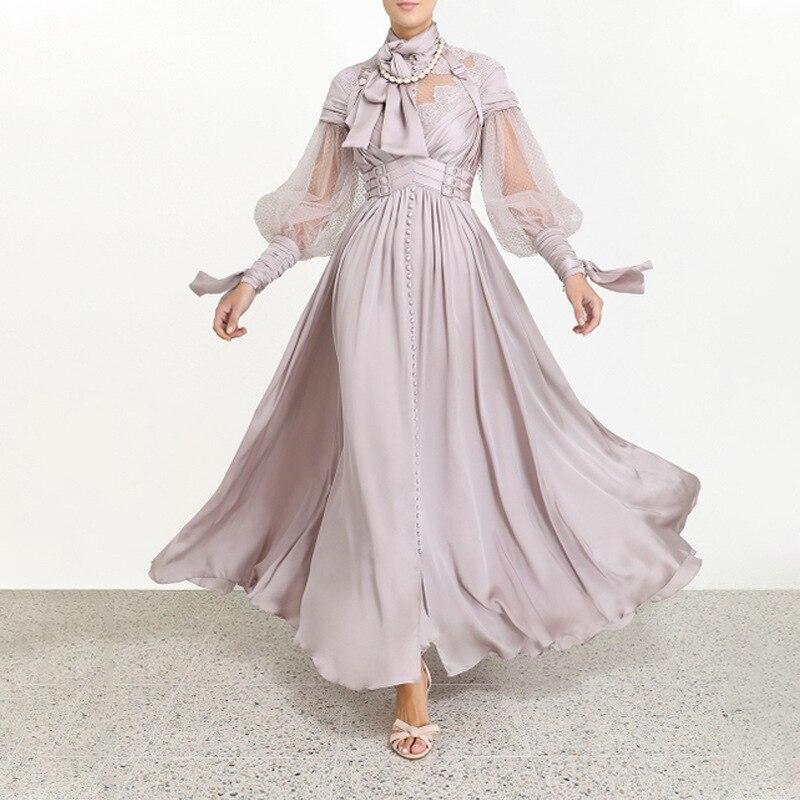 Dentelle élégante longue robe de haute qualité Sexy mode Vintage lanterne manches soirée robes de soirée femmes