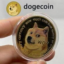 Ouro/prata chapeado dogecoin moedas comemorativas bonito cão padrão doge lembrança coleção moeda presentes