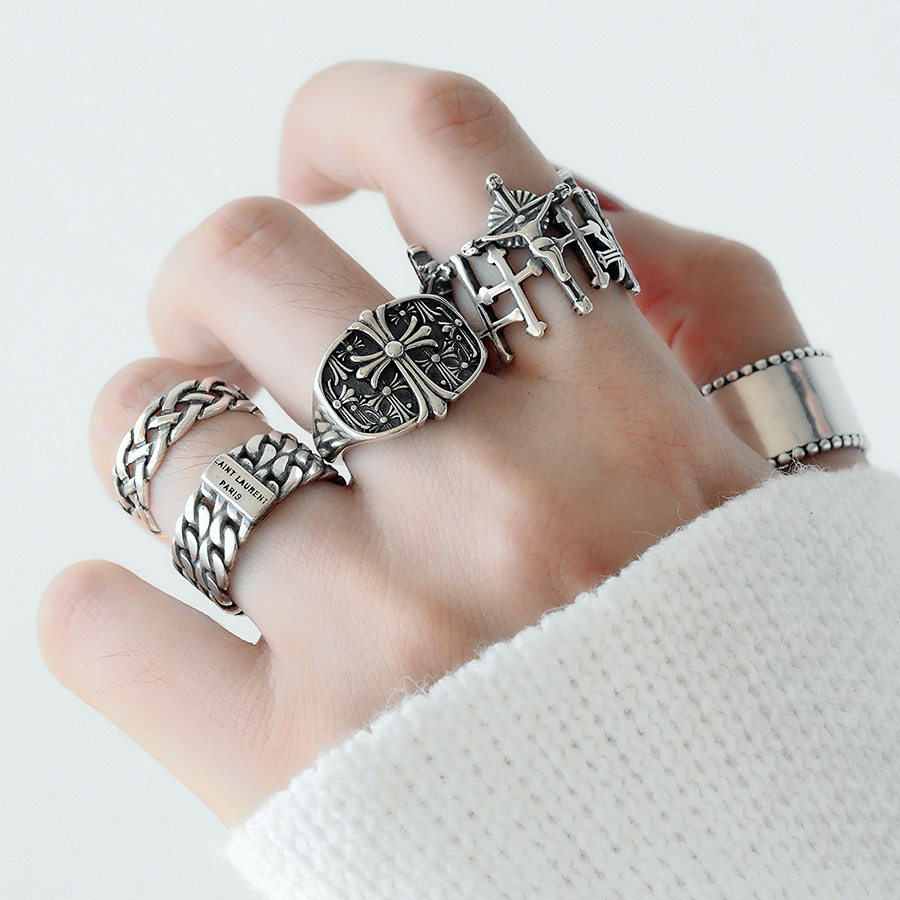 Retro English Alphabet Ring Female Gothic Old Cross Chain Openning Rings For Women Party Gift