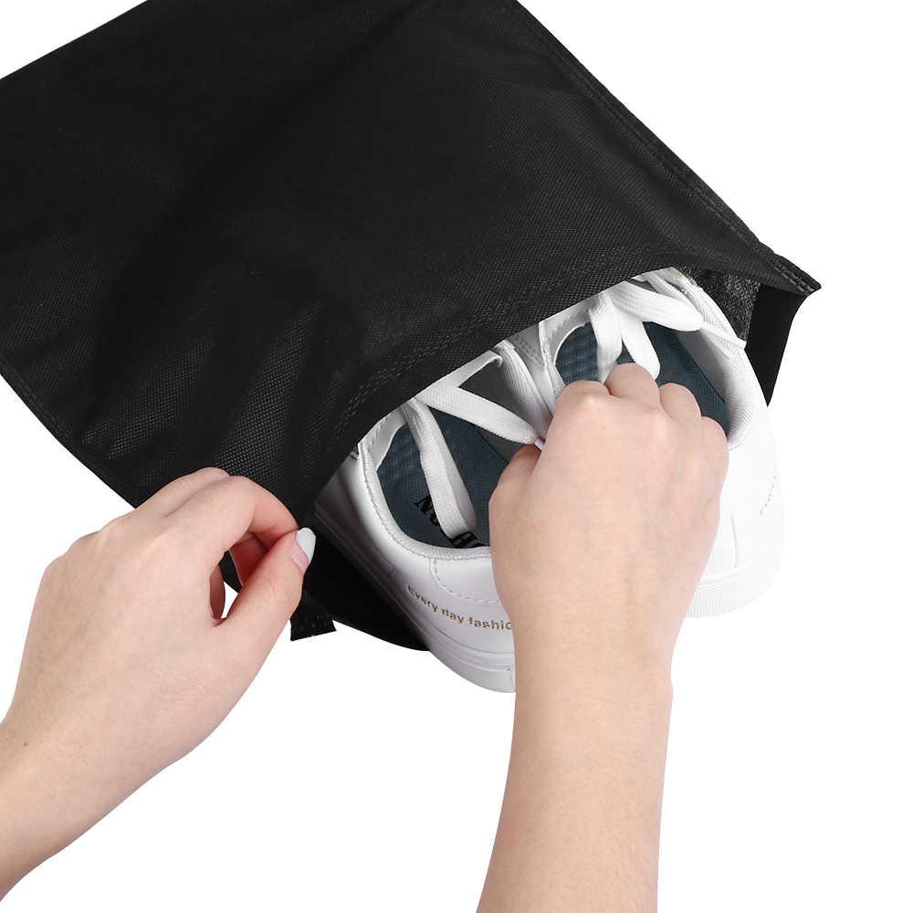 1 MÁY TÍNH Màu Đen Mang Theo Túi Du Lịch Thể Thao Vải Giày Sandal Chống Bụi Dây Rút Lưu Trữ Đồ Túi Bảo Vệ Hộp Đựng