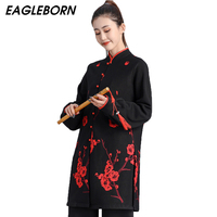Autumn Winter Performance Taijiquan Competition Martial Arts Clothing Thick Suit Embroidery Plum Men Women Black Elegant Chinese