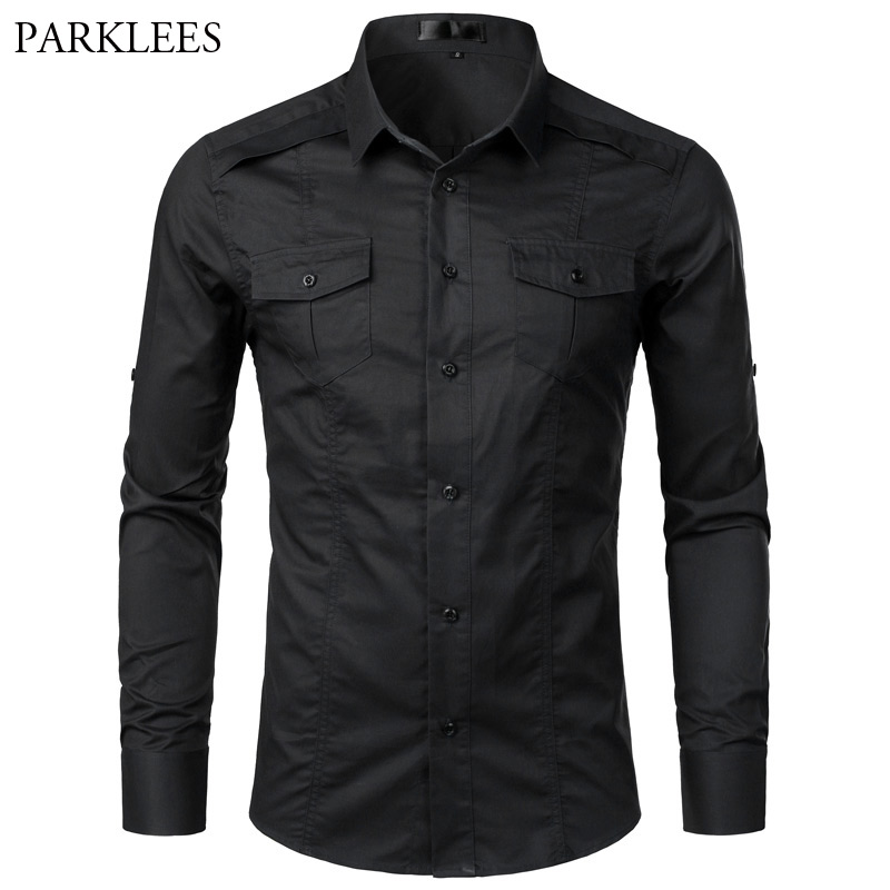 Black Tactical Shirt Men Brand New Mens Cargo Twill Work Shirts With Pocket Spring Long Sleeve Cotton Chemise Homme Camisa S-XXL