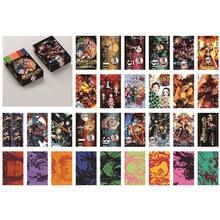 30 pçs/caixa anime demon slayer kimetsu não yaiba trem ilimitado cartão postal brinquedo rengoku kyoujurou papel mágico lomo cartão coleção