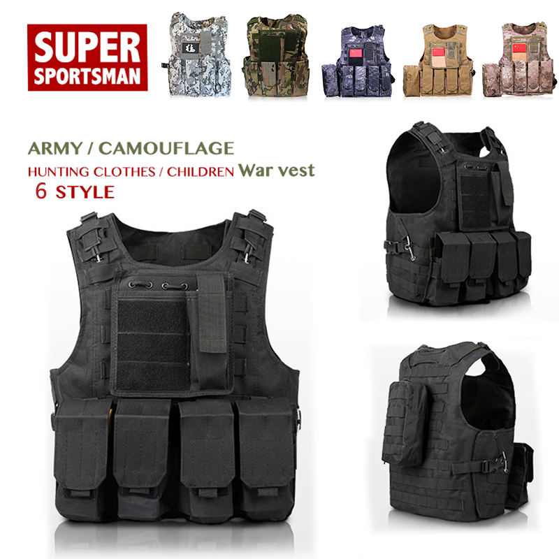 Camouflage Hunting Multi-function Vest Children Military Tactical Vest Wargame Body Molle Armor Hunting Jungle Outdoor Equipment