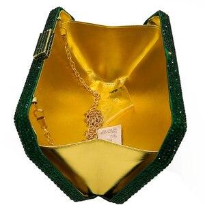 Image 5 - בוטיק דה FGG נוצץ ירוק אמרלד Wome גביש ערב שקית חתונה כלה יהלומי מצמד מסיבת Minaudiere תיק ארנק