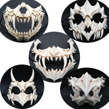 Tengu Dragon Yaksa Tiger Resin Mask Cosplay Long Teeth Demon Samurai Cos Halloween Half Animal White Bone