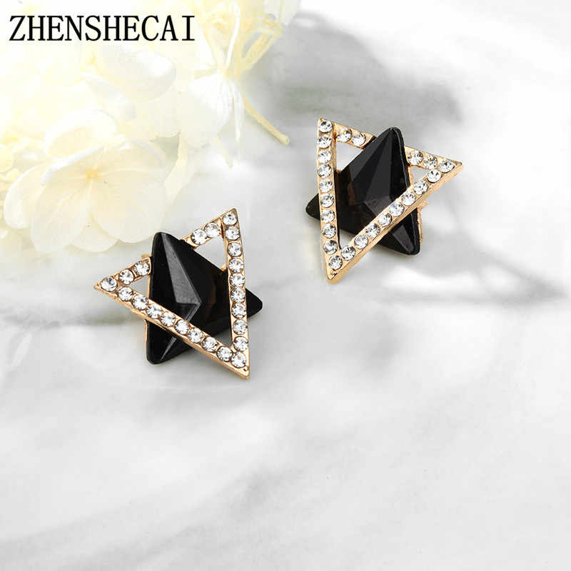 New Fashion Jewelry Rhinestones Acrylic Triangle Stud Earring For Women Gift Girls Brincos Statement Earring Party Wedding