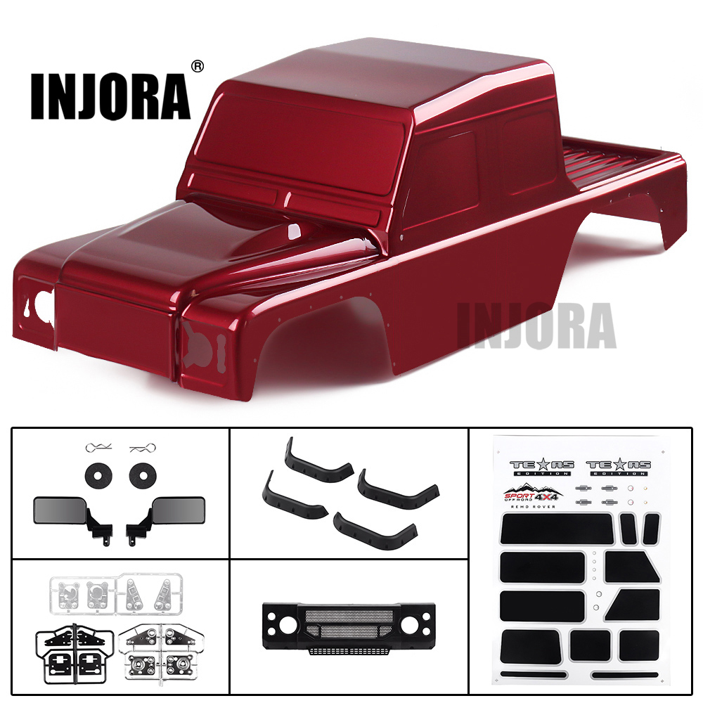 INJORA RC Car PVC Plastic 313mm Wheelbase D110 Defender Pickup Body Shell For 1/10 RC Crawler Traxxas TRX-4 Axial SCX10 90046