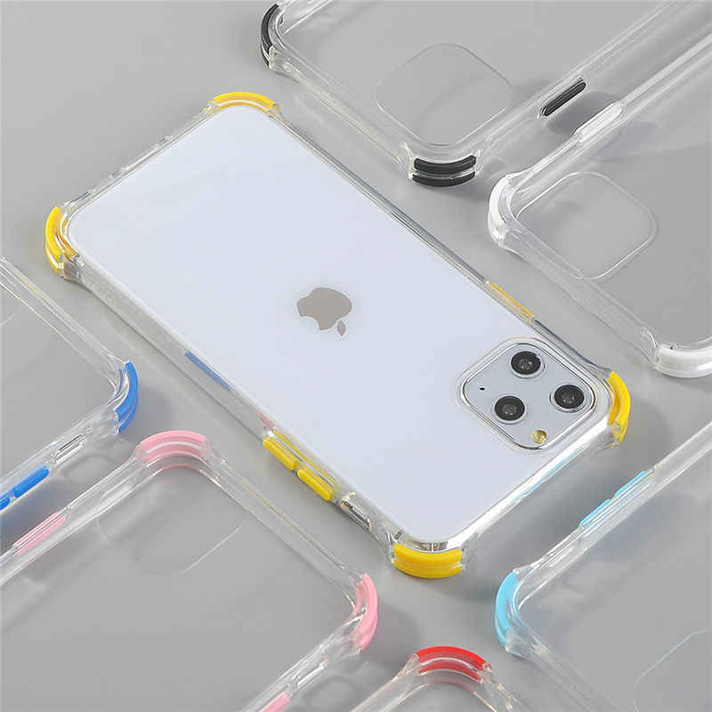 Shockproof Transparent Phone Cases For iPhone 11 11 Pro Max XR XS Max X 8 7 6 6S Plus Bumper Soft Silicone Anti-fall Back Cover