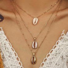 Three Layer of Shell Pendant Necklace Natural Cowrie Women Best Friend Cowry Choker Summer Bohemian Jewelry WD383