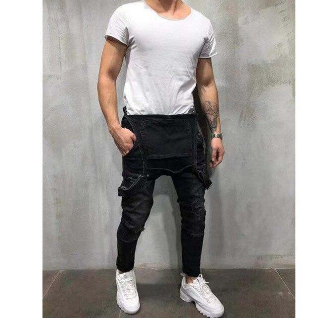 2020 Fashion Men's Ripped Jeans Jumpsuits Hi Street Distressed Denim Bib Overalls For Man Suspender Pants Size S-4XL Overalls 4