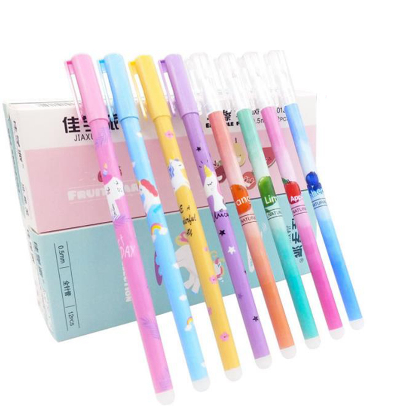 12Pcs/Set Cute Unicorn Erasable Pen Refill 0.5mm Blue/Black Ink Washable Handle Erasable Gel Pen School Office Writing Supplies